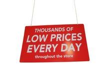 blankt shoppingtecken för stor röd detaljhandelsrea Royaltyfri Bild