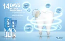 Blanquear el anuncio de la crema dental Foto de archivo libre de regalías