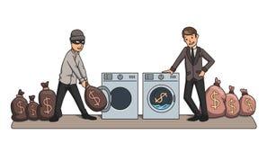 Blanqueo de dinero Criminal y dinero que se lava del hombre de negocios en las máquinas ejemplo del vector del concepto libre illustration