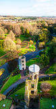 Blarney Castle in Ireland in autumn. Autumn in Ireland. Aerial view of Blarney Castle tower in Ireland. Forest and fields at the background Royalty Free Stock Image