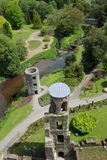 Blarney castle from top. Blarney castle tower and park taken from the top battlements . Ireland Stock Photo