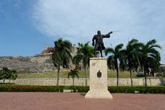 Blas de Leso Monumento in Cartagena royalty free stock images