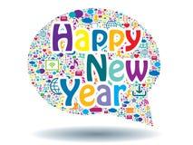 Blase des neuen Jahres der Kommunikationskonzeptfeier Stockbild