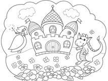 Blase ist ein Traum Die Geschichte der Prinzessin, des Drachen und des Schlosses Märchen der Kinder Vektormärchenbuch stock abbildung