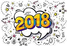 Blase mit 2018 Wörtern vektor abbildung