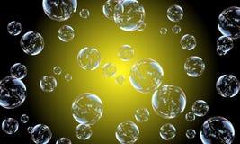Blasen auf schwarzem Hintergrund und gelbem Licht lizenzfreie stockbilder