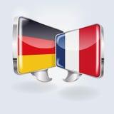 Blasen und Rede auf deutsches und französisch Lizenzfreie Stockfotos