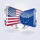 Blasen und Rede auf europäisches und amerikanisch Lizenzfreie Stockfotos