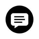 Blasenchat im schwarzen Kreis - vector ikonenhaftes Design Stockfotografie