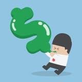 Blasendes des Geschäftsmannes in Dollarformballon Lizenzfreies Stockfoto