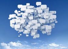 Blasengespräch über dem Himmel Stockfotografie