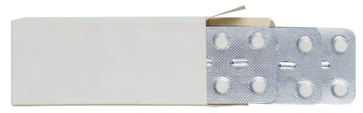 Blasenpille in einem Kasten lokalisiert stockbilder