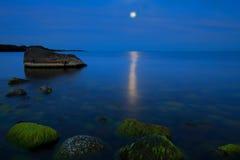 Blask księżyca przy Moelen Zdjęcia Royalty Free