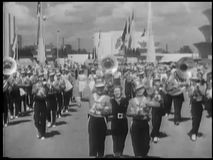 Blaskapelle in der Parade stock footage