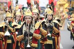 Blaskapelle am Jember-Mode-Karneval Stockfotos