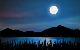 Blasku księżyca Jezioro ilustracja wektor