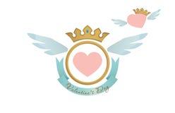 Blasone del cuore del biglietto di S. Valentino Fotografia Stock