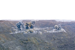 Blast. In open cast mining quarry royalty free stock photos