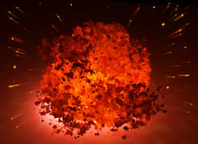 Blast. Scene of the blast Executed in 3 D stock photography