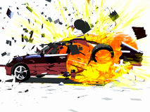 BLAST of the CAR. Scene of the BLAST of the CAR, executed in 3 D Stock Photo