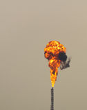 Blast of fire. From refinery stack Stock Photos