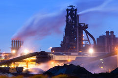 Blast Furnace. Heavy industry at night with a blast furnace dominating the scene Royalty Free Stock Images