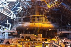 Blast furnace. In workshop of metallurgical plant royalty free stock photos