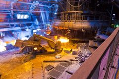 Blast furnace. In workshop of metallurgical plant stock photos