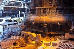Blast furnace. Interior of blast furnace workshop of metallurgical plant stock images