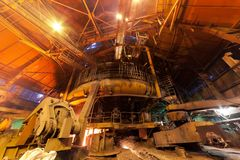 Blast furnace. Working blast furnace at the metallurgical plant royalty free stock photos