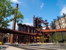 Blast furnace in metallurgical area Royalty Free Stock Photos