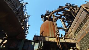Blast Furnace At Old Metallurgical Plant stock video footage