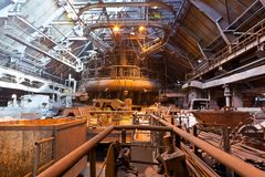Blast-furnace shop. At the metallurgical plant stock photo