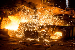 Blast furnace with sparks Stock Image