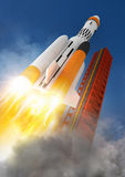 Blast Off!. A rocket launching into space Stock Images