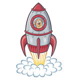 Blast Off Dog. Cartoons of a dog blasting off in to outer space inside a  retro looking rocket ship with a sad looking expression Royalty Free Stock Photography
