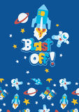 Blast off. Vector illustration of a space scene for children Royalty Free Stock Image