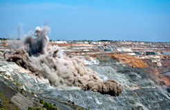 Blast in open cast mine Stock Photos