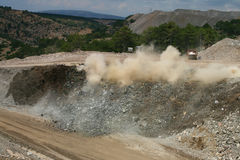 Blast in open pit Stock Images