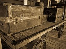 Blast from the past. Luggage, antique, vintage, history, historical, photo, old, western, baggage stock image