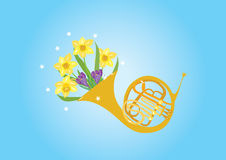 A blast of Spring. A cartoonillustration of a French horn with spring flowers including daffodils and crocus Stock Image