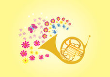 A blast of summer. A french horn blowing summer flowers and butterflies Stock Photo