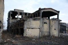 Blasted demolished house Stock Images