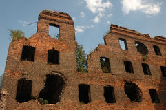 Blasted house. Walls of the blasted house, Fortress Oreshek Shlisselburg Royalty Free Stock Photography