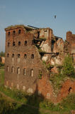 Blasted house. Walls of the blasted house, Fortress Oreshek Shlisselburg Stock Photography
