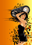 Blaster Boxx. A female listening to music royalty free illustration