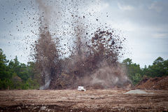 Blasting limestone in a quarry.GN Stock Photo