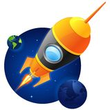 Blasting Rocket. Rocket flying towards audience. planet, stars and earth in background Royalty Free Stock Photo