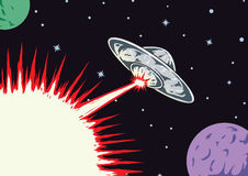 Blasting UFO. Alien UFO blasting, text can be inserted into blast Royalty Free Stock Photos