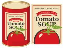 Blaszana puszka z etykietka pomidoru polewką Zdjęcie Royalty Free